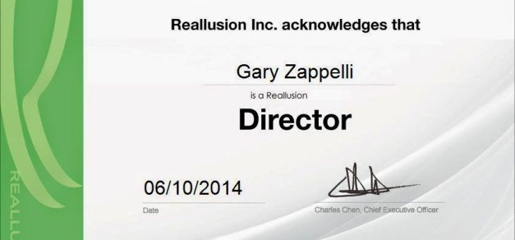 Gary Zappelli Becomes a Reallusion Certified Director !